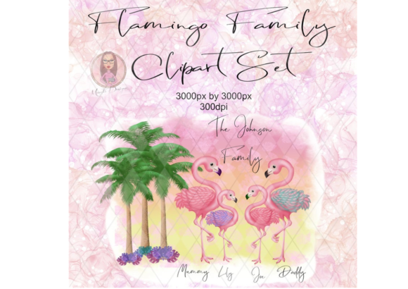 Flamingo Family Clipart Set Graphic Illustrations By Marelia Designs