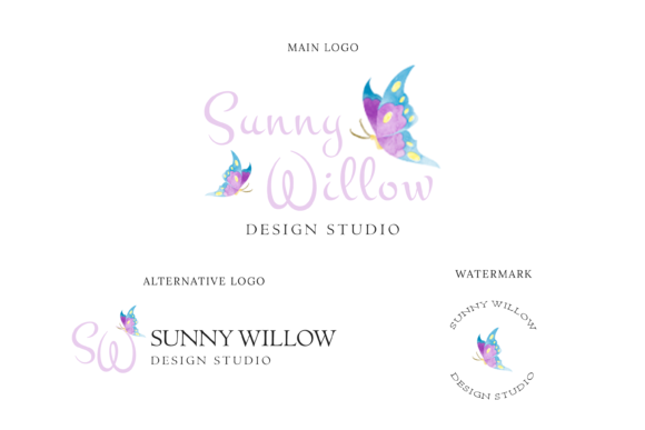 Print on Demand: Flower Shop & Butterfly Logo Design Graphic Logos By sunnywillowdesign