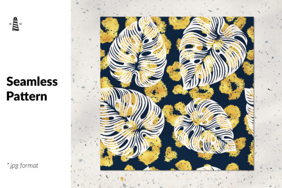 Print on Demand: Gold Leopard Spots and Palm Leaves Graphic Patterns By northseastudio