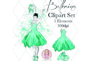 Green Ballerina Clipart Set Graphic Illustrations By Marelia Designs