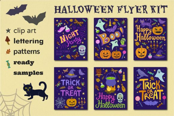 Halloween Flyer Kit Graphic Illustrations By y.kachan87