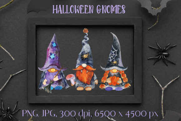 Halloween Gnomes. Watercolor Clipart Graphic