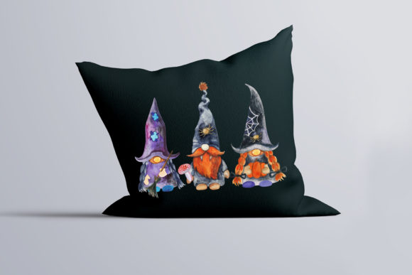 Halloween Gnomes. Watercolor Clipart Graphic Item