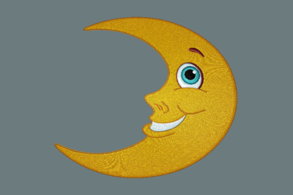 Happy Moon Robots & Space Embroidery Design By Digital Creations Art Studio