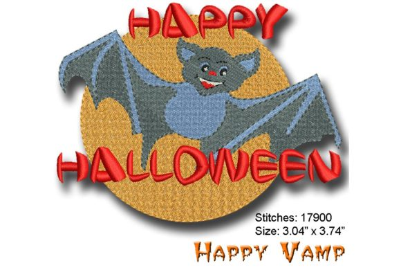 Happy Vamp Halloween Embroidery Design By BabyNucci Embroidery Designs