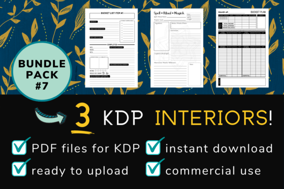 Print on Demand: KDP Interior Pack #7 - 3 Templates! Graphic KDP Interiors By mothmos