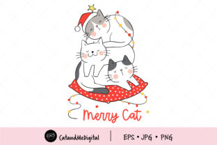 Merry Cat Christmas Sleeping Graphic Illustrations By CatAndMe