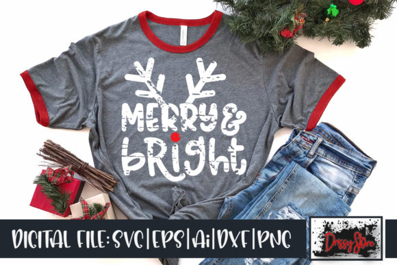 Merry and Bright Grunge Graphic Crafts By DrissyStore