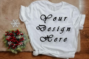 Print on Demand: Mockups Christmas White T-shirt Picture Graphic Product Mockups By Art Studio