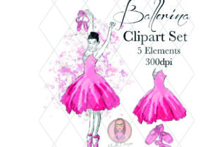 Pink Ballerina Clipart Set Graphic Illustrations By Marelia Designs