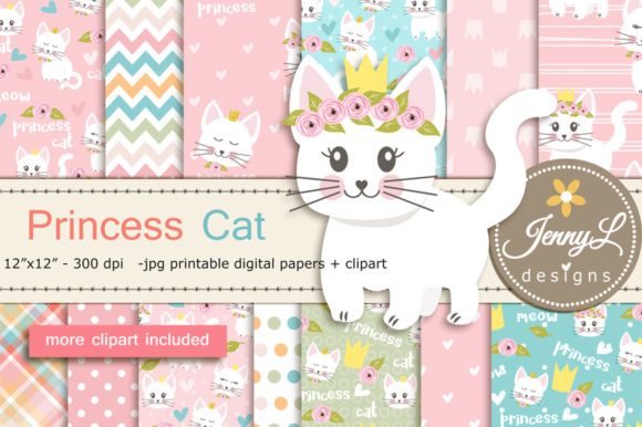 Princess Cat Digital Papers and Clipart Graphic Backgrounds By jennyL_designs