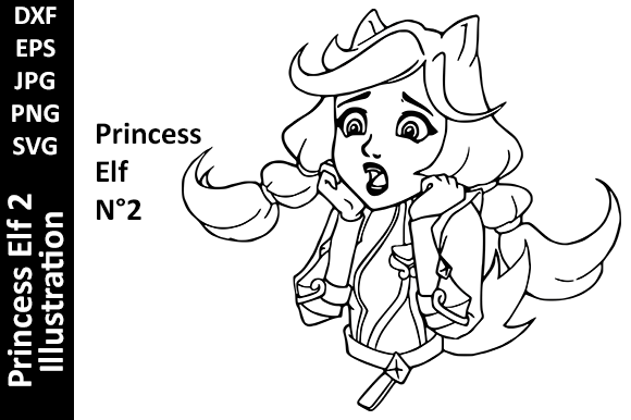 Princess Elf Illustration Line Art 02 Graphic Crafts By Oxyp
