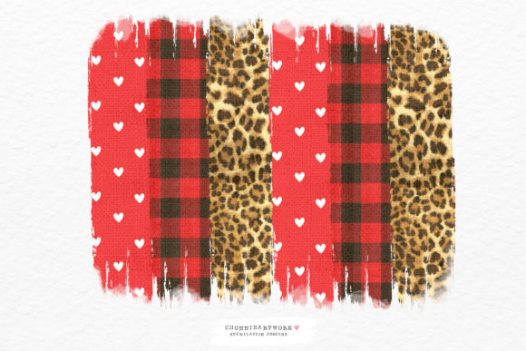 Red Plaid and Leopard Background Brush Graphic Crafts By Chonnieartwork
