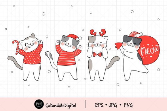 Santa Cat Christmas Graphic Illustrations By CatAndMe