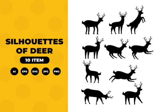 Silhouettes of Deer Graphic Illustrations By OKEVECTOR
