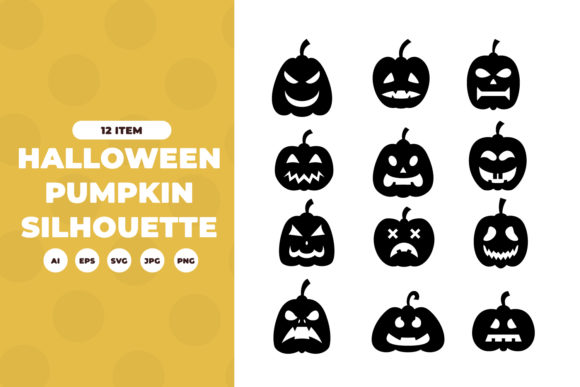 Silhouettes of Pumpkin Graphic Illustrations By OKEVECTOR