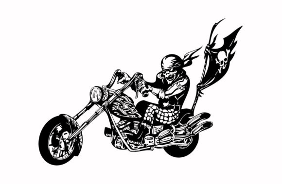 Print on Demand: Skull Riding a Motorcycle Ready Graphic Illustrations By nisakaart