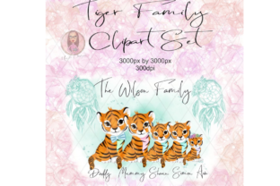 Tiger Family Clipart Set Graphic Illustrations By Marelia Designs