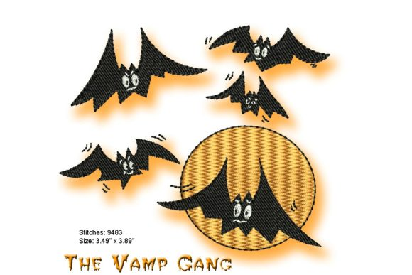Vamps Moon Halloween Embroidery Design By BabyNucci Embroidery Designs