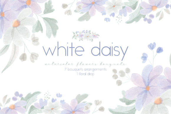 Print on Demand: Watercolor Flowers, White Daisy Graphic Illustrations By Craft Point Art