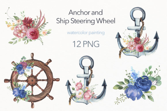 Watercolor Collection Anchors, Ship Whee Graphic Illustrations By olesiafrolowa