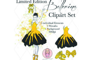 Yellow & Black Ballerina Clipart Set Graphic Illustrations By Marelia Designs