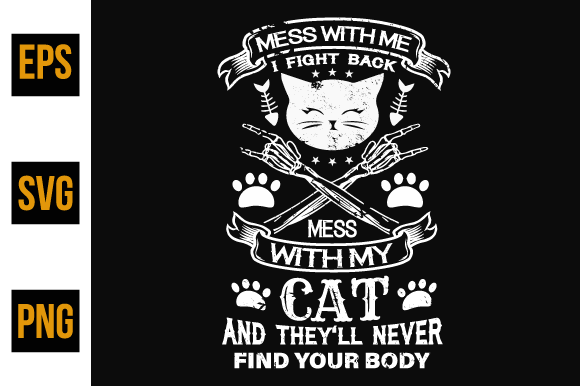Print on Demand: Cat Typographic Quotes Design. Graphic Print Templates By ajgortee