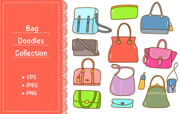 Set of Handbag Doodle Isolated on White Graphic Illustrations By Big Barn Doodles