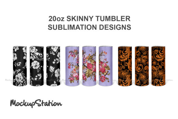 Print on Demand: 20oz Skinny Tumbler Design Bundle Graphic Crafts By Mockup Station