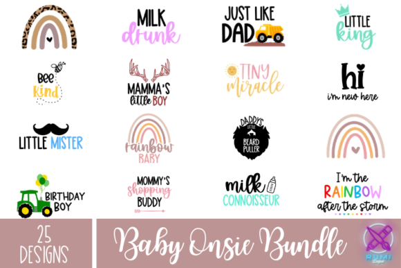 Baby Sayings Bundle, Newborn Onsie Svg B Graphic Crafts By Rumi Designed