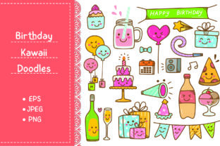 Birthday Doodle in Kawaii Style Vector Graphic Illustrations By Big Barn Doodles
