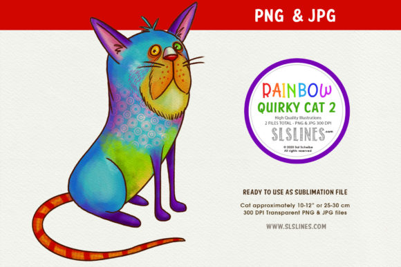 Print on Demand: Blue Quirky Cat Illustration PNG Graphic Illustrations By SLS Lines
