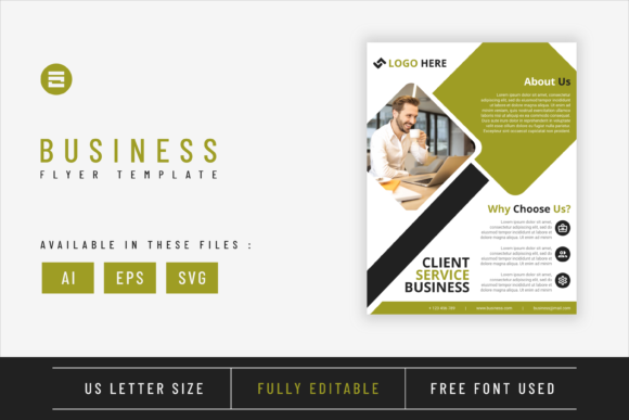 Business Flyer Template with Lime Colour Graphic Print Templates By Saidi Creative