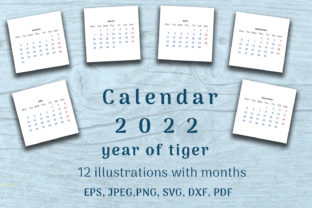 Print on Demand: Calendar 2022 Year. 12 Templates Month. Graphic Illustrations By OK-Design 1