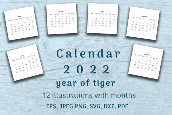 Print on Demand: Calendar 2022 Year. 12 Templates Month. Graphic Illustrations By OK-Design