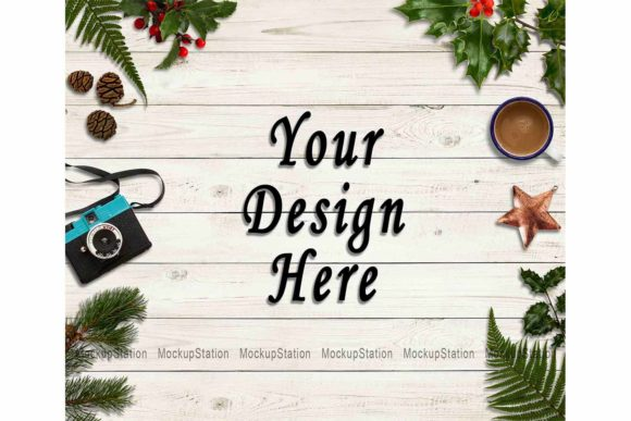Print on Demand: Christmas Background, Winter Backdrop Graphic Backgrounds By Mockup Station
