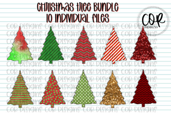 Print on Demand: Christmas Tree Bundle Graphic Crafts By designscor