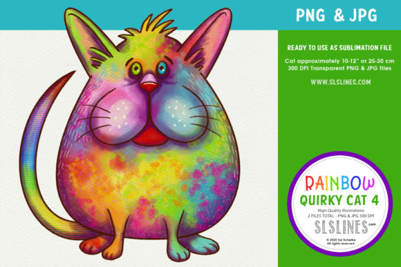 Print on Demand: Chubby Rainbow Cat Clipart PNG Graphic Illustrations By SLS Lines