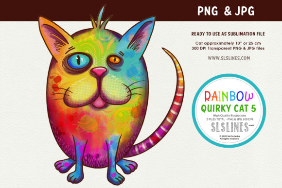 Print on Demand: Cool Rainbow Kitty Cat PNG Graphic Illustrations By SLS Lines