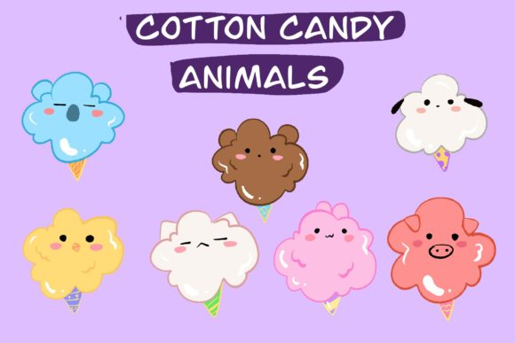 Cotton Candy Animal Graphic Illustrations By aunny2544