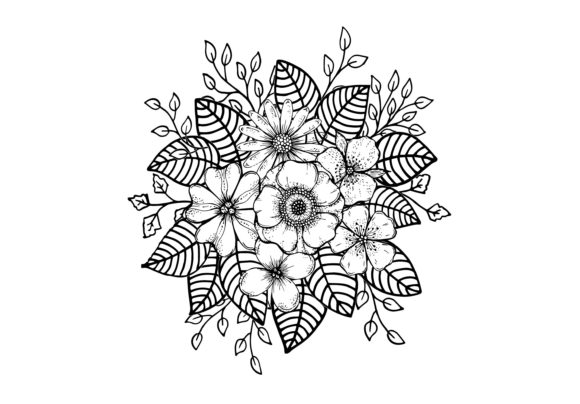 Doodle Flowers, Hand Drawing Graphic Illustrations By Santy Kamal