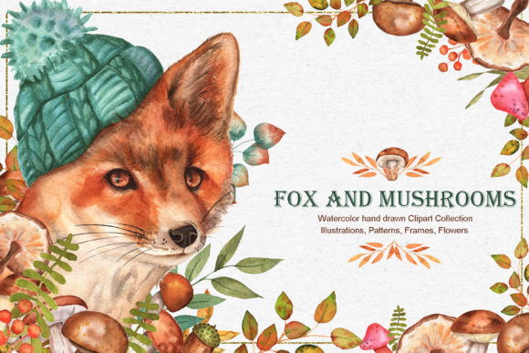 Print on Demand: Fox and Mushrooms Watercolor Set Graphic Illustrations By tanatadesign