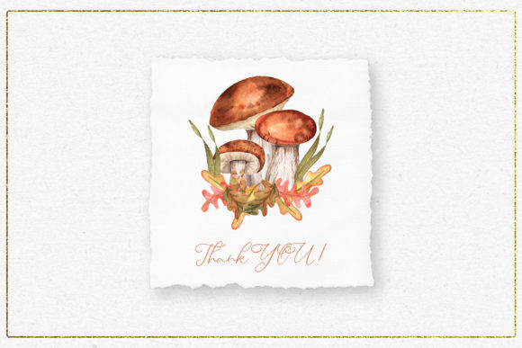 Fox and Mushrooms Watercolor Set Graphic Graphic