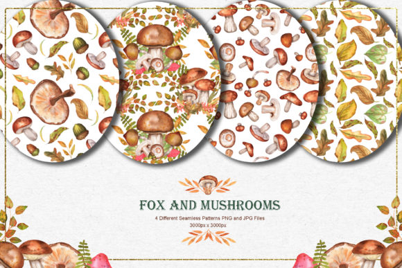 Fox and Mushrooms Watercolor Set Graphic Preview