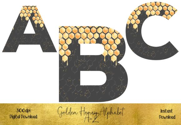 Golden Honey Alphabet Graphic Illustrations By STBB