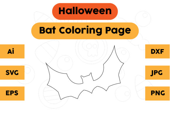 Halloween Coloring Page - Bat 01 Graphic Coloring Pages & Books Kids By isalsemarang