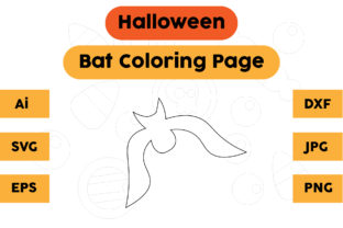 Halloween Coloring Page - Bat 04 Graphic Coloring Pages & Books Kids By isalsemarang