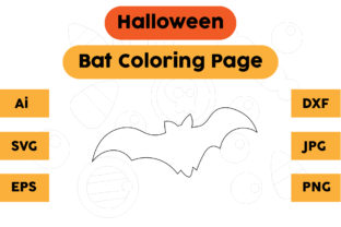 Halloween Coloring Page - Bat 05 Graphic Coloring Pages & Books Kids By isalsemarang