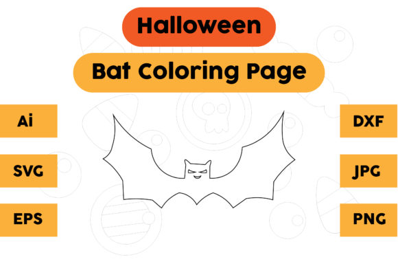 Halloween Coloring Page - Bat 08 Graphic Coloring Pages & Books Kids By isalsemarang