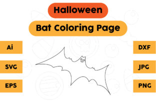 Halloween Coloring Page - Bat 09 Graphic Coloring Pages & Books Kids By isalsemarang